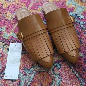 Marni Sabot Kiltie Leather Slides